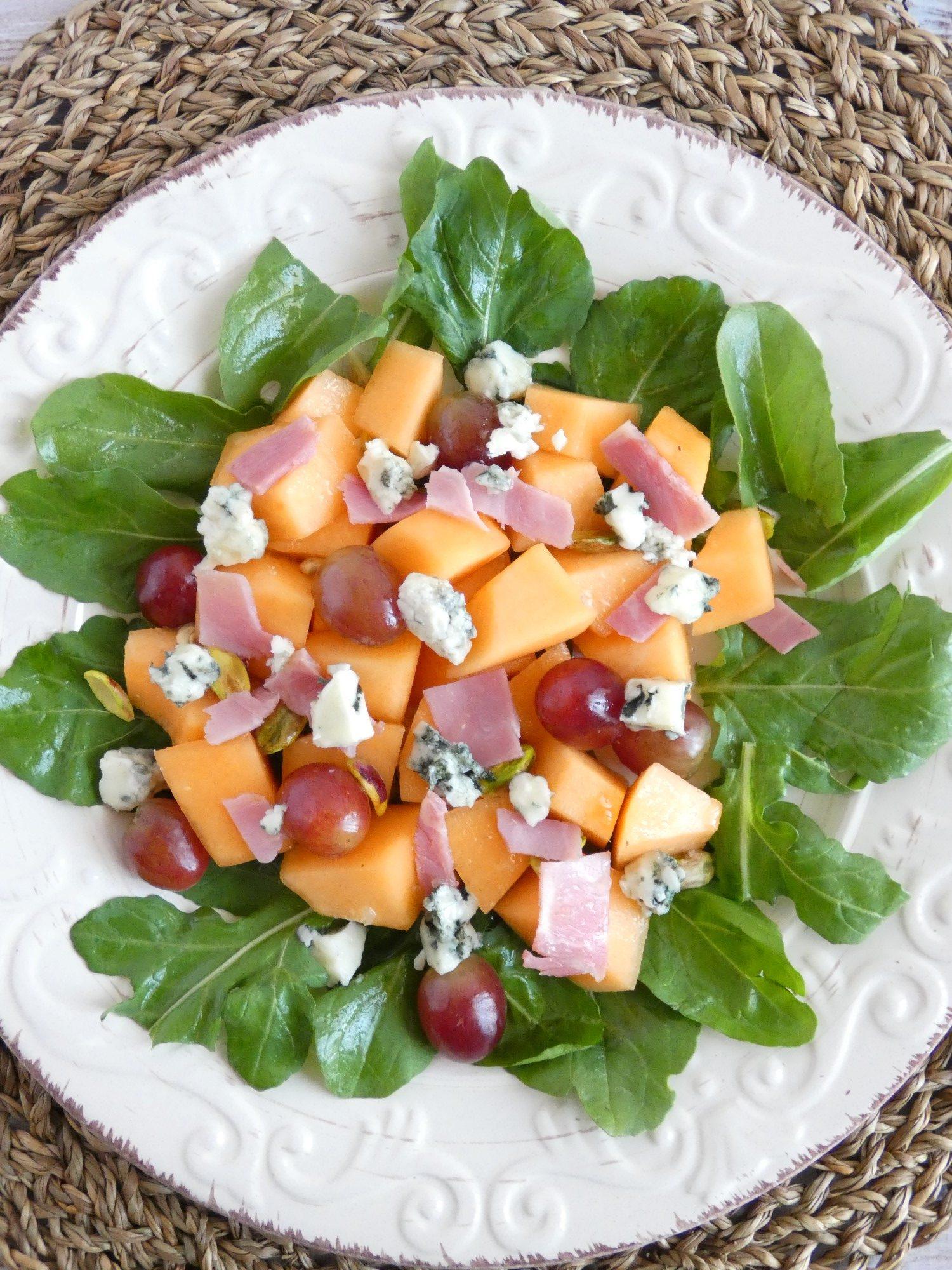 melon arugula and roquefort salad | my baking saga