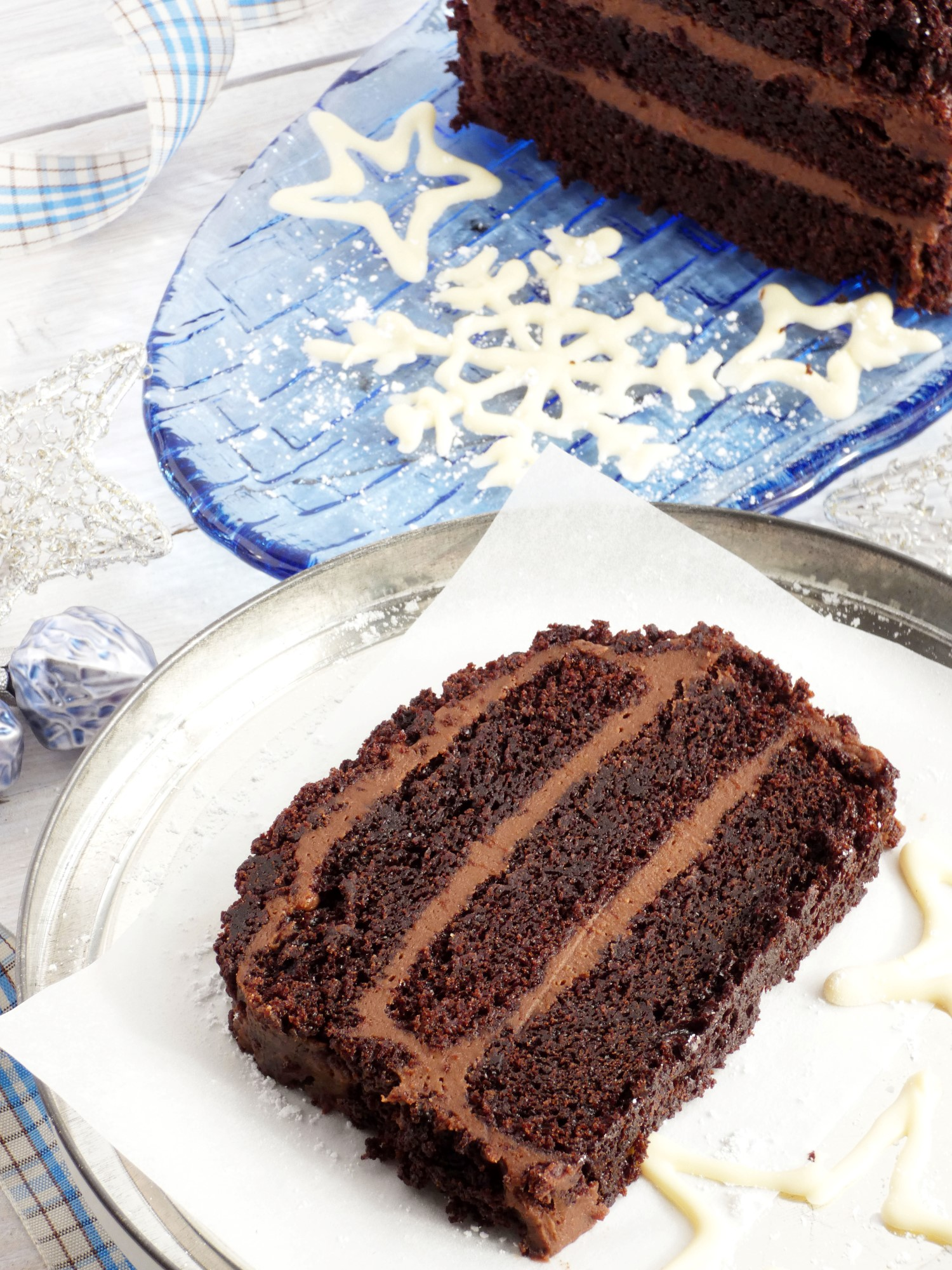 chocolate cake with chocolate cream filling