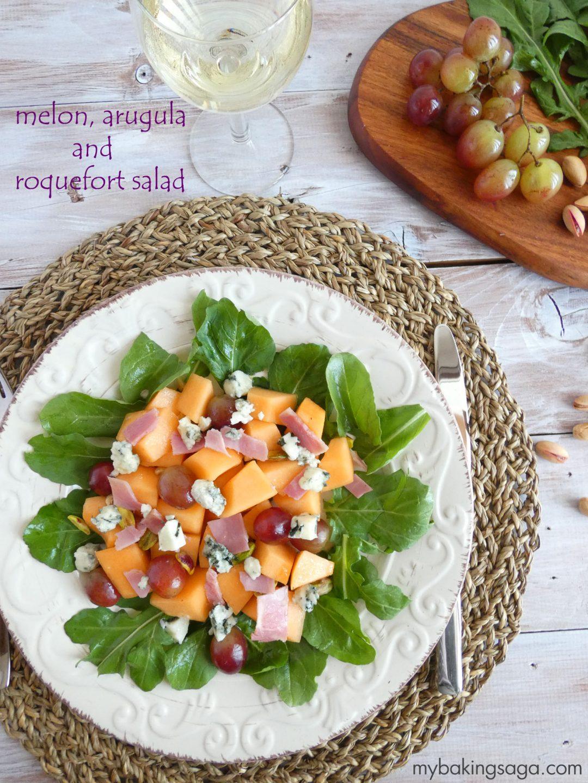 melon arugula and roquefort salad