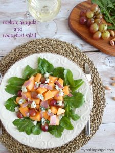 melon arugula and roquefort salad