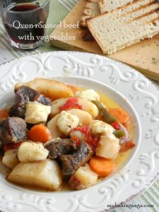 Oven roasted beef with vegetables