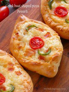 Greek boat shaped pizza - Peinirli
