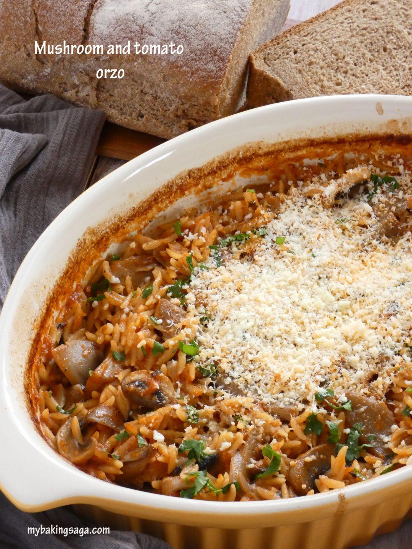 Mushroom and tomato orzo