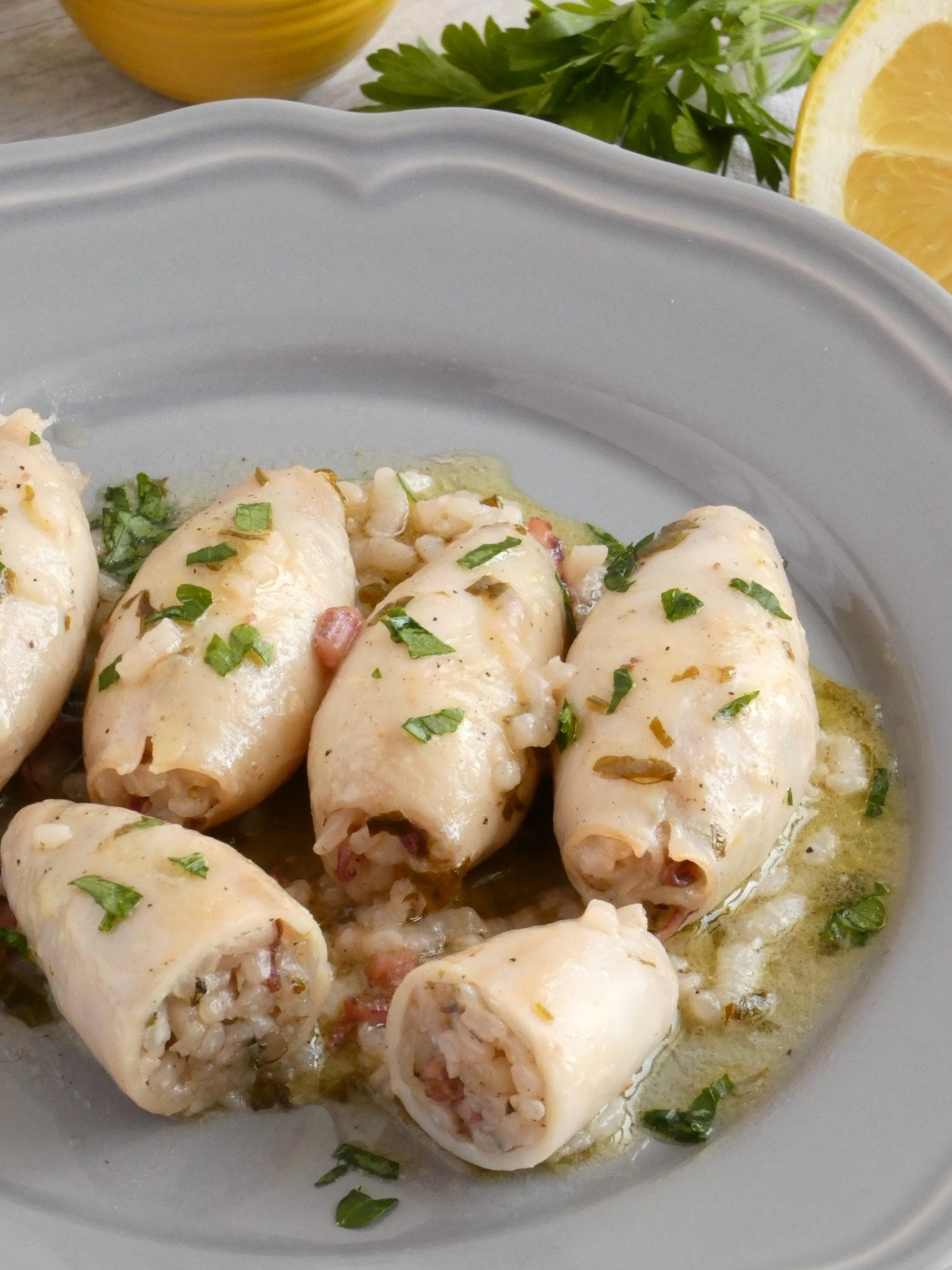 Greek Stuffed Squid with Rice and Parsley